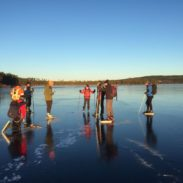 Ice skating on the lake