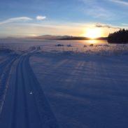 Skitrack on the lake
